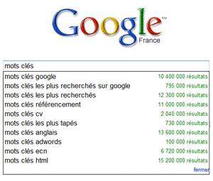 Google Suggest une bonne façon de s'enquérir des requêtes tapées sur Google