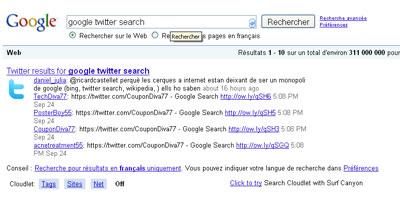 Obtenir 5 résultats twitter dans une page de résultat Google