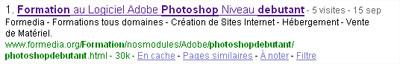 Lextrait de la page du site Formedia.org qui répond à la requete formation photoshop débutant